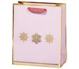 BSB Luxusní dárková papírová taška 23 x 19 x 9 cm Vánoční růžová se zlatými vločkami VDT 447 A5