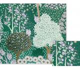 Nekupto Dárkový balicí papír 70 x 150 cm Zelený se stromy