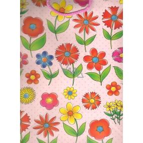 Nekupto Dárková papírová taška velká BL Růžová barevné květy 32,5 x 26 x 13 cm