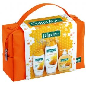 Palmolive Naturals Milk & Honey Mléko a Med pěna do koupele 500 ml + Naturals Milk & Honey sprchový gel 250 ml + Naturals Milk & Honey tekuté mýdlo 300 ml + kosmetická taštička, kosmetická sada