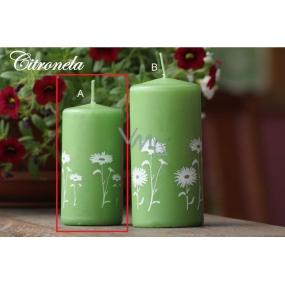 Lima Citronela svíčka proti komárům vonná repelentní s motivem květin zelená listová válec 50 x 100 mm