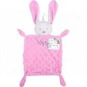 First Steps Usínáček s plyšovou hlavičkou Zajíc Minky růžový 26 x 18 cm