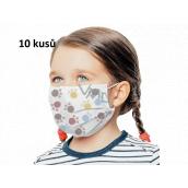 Rouška 3 vrstvá ochranná zdravotní netkaná jednorázová, nízký dýchací odpor pro děti 10 kusů bílá potisk tlapka