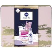 Nivea Blossom Care micelární voda 200 ml + tělové suflé 200 ml + pleťová maska 1 kus + Labello Soft Rosé balzám na rty 4,8 g + plechová krabička, kosmetická sada