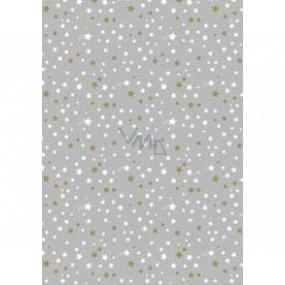 Ditipo Dárkový balicí papír 70 x 200 cm Vánoční stříbrný bílé a zlaté hvězdičky