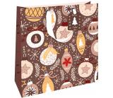Nekupto Dárková papírová taška luxusní 33 x 33 cm Vánoční hnědá s ozdobami WLIL 1979