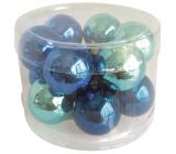 Baňky skleněné tmavě modrá sada 2,5 cm, 12 kusů
