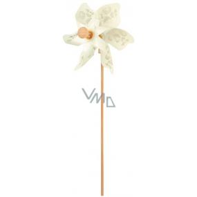 Větrník s průhledným vzorem bílý 9 cm + špejle 1 kus