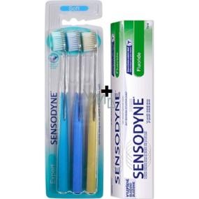 Sensodyne Expert Soft měkký zubní kartáček 3 kusy + Sensodyne Fluoride Zubní pasta 75 ml