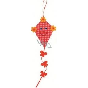Dráček z látky na zavěšení oranžový 14 cm + ocásek 21 cm