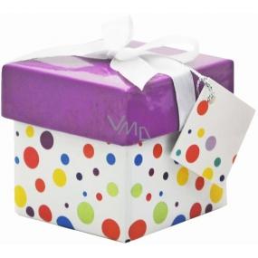 Dárková krabička skládací s mašlí 04 Puntíky Mini 7 x 7 x 7 cm