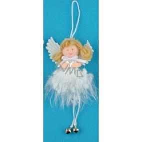 Anděl hebký s rolničkou na zavěšení 12 cm č2