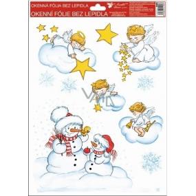 Okenní fólie bez lepidla Tradiční motivy sněhuláci 37 x 26 cm