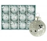 Sada skleněných baněk stříbrných 3 cm 12 kusů
