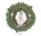 Věnec se sněhulákem na zavěšení 25 cm