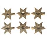 Hvězda dřevěná na kolíčku zlatá 4 cm 6 kusů
