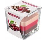 Bispol Chocolate & Cherry - Čokoláda a višeň tříbarevná vonná svíčka sklo, doba hoření 32 hodin 170 g