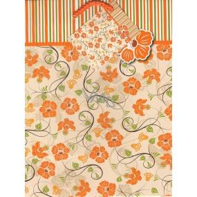 Nekupto Dárková papírová taška 23 x 18 x 10 cm Květiny oranžová 1 kus 755 01 BM