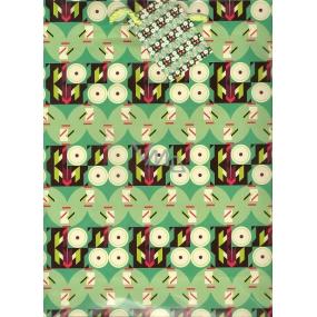 Nekupto Dárková papírová taška velká 849 50 BL Zelená s dekorem 32,5 x 26 x 13 cm