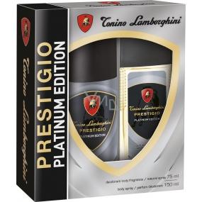 Tonino Lamborghini Prestigio Platinum Edition parfémovaný deodorant sklo pro muže 75 ml + deodorant sprej 150 ml, kosmetická sada