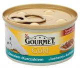 Gourmet Gold Cat Losos a kuřecí kousky konzerva pro dospělé kočky 85 g