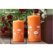 Lima Citronela svíčka proti komárům vonná repelentní s motivem květin oranžová válec 50 x 100 mm