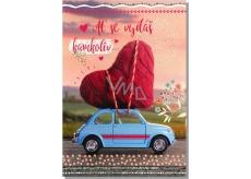 Albi Hrací přání do obálky Z lásky Srdce na autíčku I ll by There For You 14,8 x 21 cm