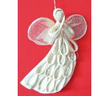 Anděl abaca letící plochý s obloučky na zavěšení 20 cm
