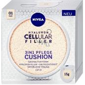 Nivea Hyaluron Cellular Filler 3v1 pečující tónovací krém make-up v houbičce 01 Světlý odstín 15 g