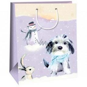 Ditipo Dárková papírová taška 32,4 x 10,2 x 44,5 cm fialové pejsek se sněhulákem DXA