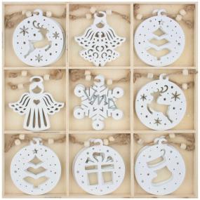 Dekorace dřevěné na zavěšení bílé 6 cm 27 kusů, v krabičce