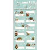 Arch Vánoční etikety samolepky Sovičky zelený arch 707 12 etiket