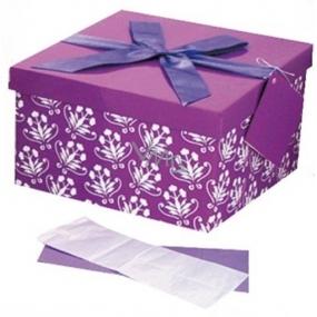 Dárková krabička skládací s mašlí celoroční fialová L 22 x 22 x 13 cm