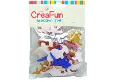 CreaFun Samolepicí dekorace Dino Eva se třpytkami mix barev 37 x 30, 65 x 40 mm 40 kusů