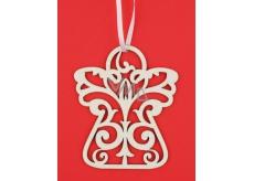 Anděl dřevěný bílý, glitr na zavěšení 10 cm