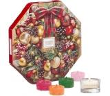 Yankee Candle Adventní kalendář Věnec čajová svíčka 24 kusů + skleněný svícen 1 kus, dárková sada 2019