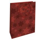 Nekupto Dárková papírová taška 14 x 11 x 6,5 cm Vánoční červená vločky WBS 1918 30