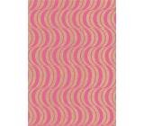 Ditipo Dárkový balicí papír 70 x 200 cm KRAFT Růžové ornamenty