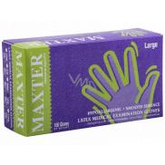 Maxter Rukavice hygienické jednorázové latexové hypoalergenní pudrované, velikost L, box 100 kusů