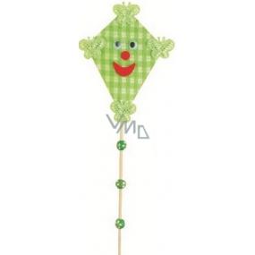 Dráček na špejli s kuličkami zelený 30 cm