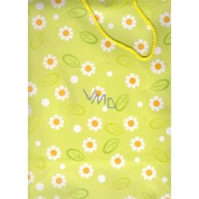 Nekupto Dárková papírová taška velká BL Světle zelená bílé kopretiny 32,5 x 26 x 13 cm