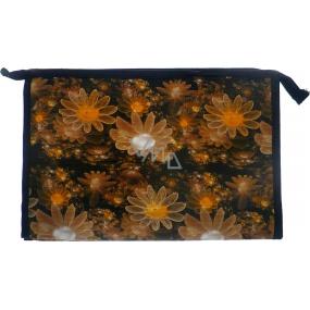 Etue Béžové květy černý podklad 27 x 18 x 7 cm 70270