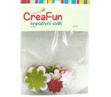 CreaFun Samolepicí dekorace Květ Eva se třpytkami mix barev 31 x 33, 38 x 38, 45 x 45 mm 15 kusů