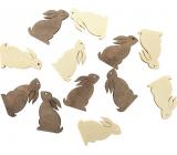 Zajíček dřevěný béžová, hnědá 4 cm, 12 kusů