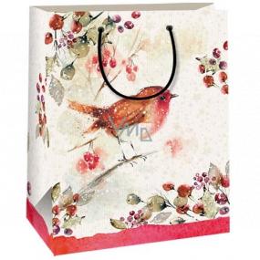 Ditipo Dárková kraftová taška 18 x 8 x 24 cm béžová ptáček 50