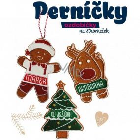 Albi Perníček, voňavá vánoční ozdoba Šťastné a veselé!panáček 8 cm