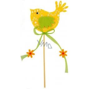 Ptáček z filcu žlutý-bílý dekor 7cm