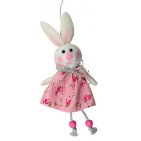 Zajíc růžový v květované sukni 15 cm
