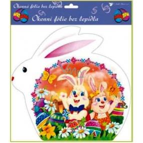 Okenní fólie bez lepidla velikonoční bílý zajíc, žlutý a oranžový zajíc 30 x 29 cm