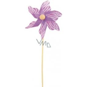 Větrník s bílým proužkem fialový 9 cm + špejle 1 kus